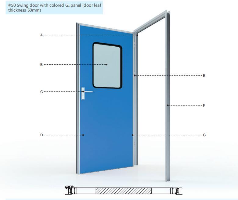 Swing door with colored GI panel